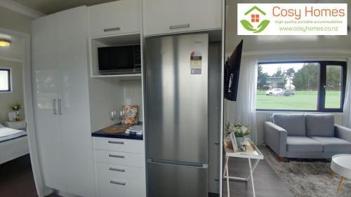 Kitchen pantry, microwave, fridge