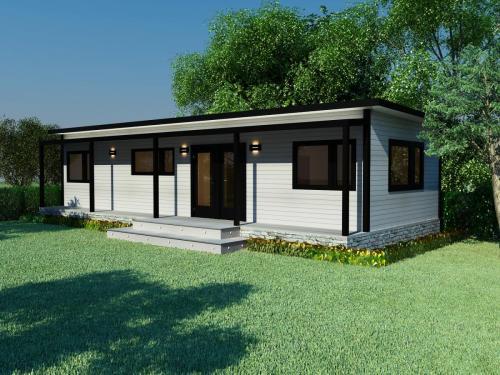 2-bedroom Cosy Home with veranda, deck and rock-look external skirting
